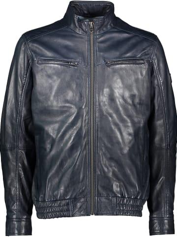 Otto Kern Leren jas donkerblauw