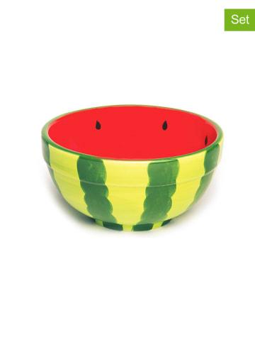 """Trendy Kitchen by EXCÉLSA 2er-Set: Schalen """"Watermelon"""" in Grün/ Rot - Ø 12 cm"""