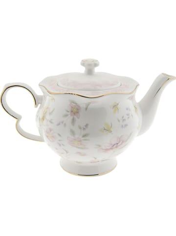 Clayre & Eef Dzbanek w kolorze białym ze wzorem do herbaty - 1,2 l