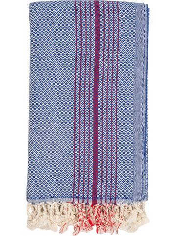 Samimi Hamamtuch in Blau/ Rot - L(180) x (B)100 cm