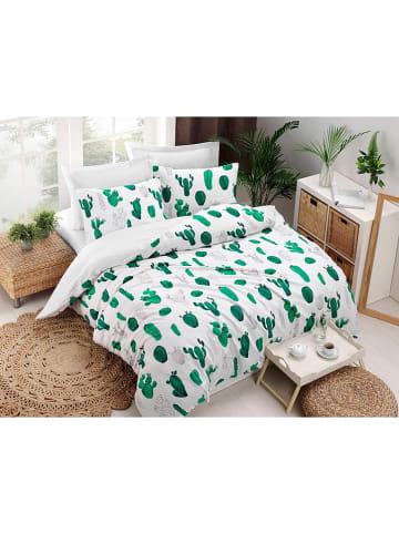 """Colourful Cotton Komplet pościeli """"Kaktüs"""" w kolorze biało-zielonym"""