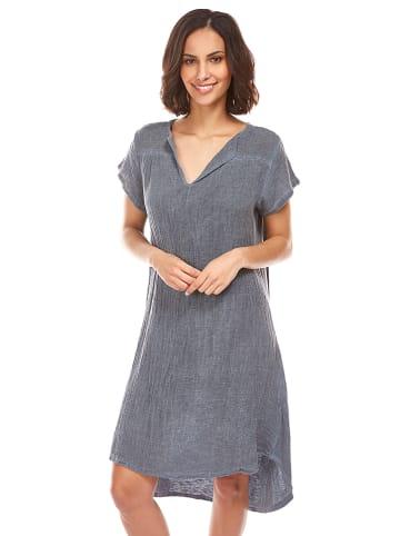 100% LIN Sukienka w kolorze szarym
