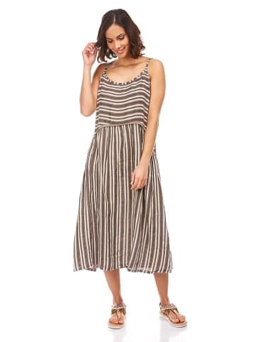 Spécial Lin Lniana sukienka w kolorze brązowym