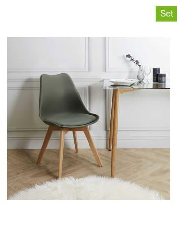 THE HOME DECO FACTORY Krzesła (2 szt.) w kolorze khaki - 49 x 82,5 x 52,5 cm