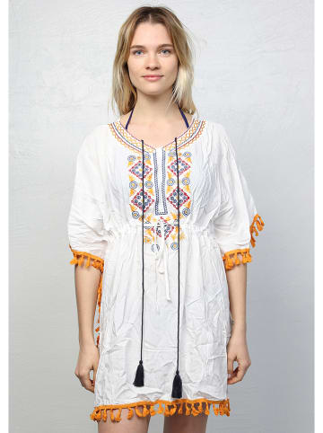 Summer Time Tunika w kolorze białym ze wzorem