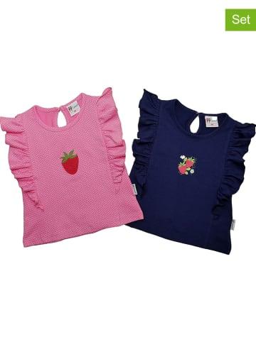 Gelati Koszulki (2 szt.) w kolorze jasnoróżowo-granatowym