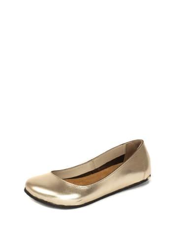 Comfortfusse Leren ballerina's goudkleurig