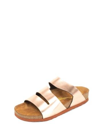 Comfortfusse Leren slippers roségoudkleurig
