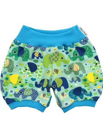 """Kleine Könige Szorty """"Elefantenparty"""" w kolorze zielono-niebieskim"""