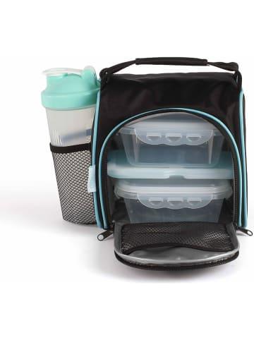 Livoo 5-delige set: koeltas met lunchboxen en fles zwart/turquoise