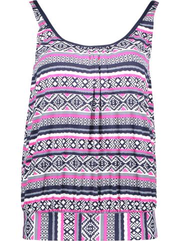 LASCANA Koszulka tankini w kolorze granatowo-różowym