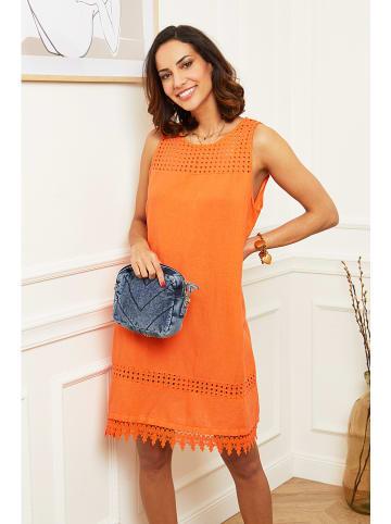 100% LIN Lniana sukienka w kolorze pomarańczowym