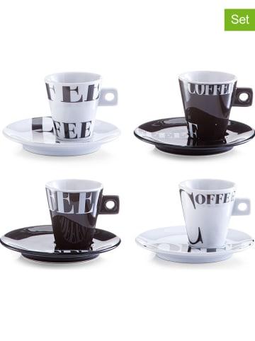 "Zeller 4-delige set: espressokoppen ""Coffee style"" zwart/wit - 50 ml"