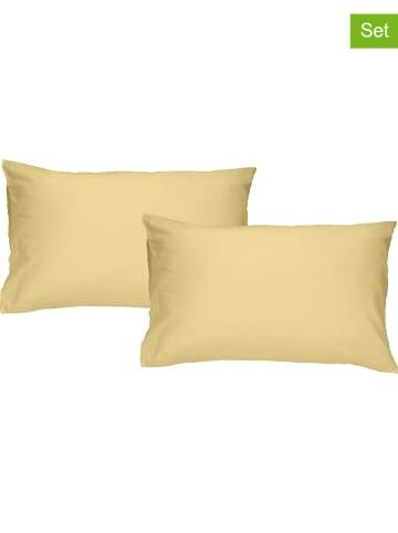 "Walra 2-delige set: perkal kussenslopen ""The New Vintage"" geel"