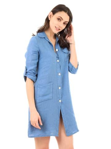 Lin Passion Lniana sukienka w kolorze niebieskim