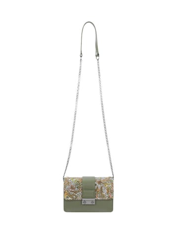 Wojas Skórzana torebka w kolorze zielonym ze wzorem - (S)19 x (W)13 x (G)8 cm