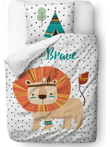 """Mr Little Fox Satijnen beddengoedset """"Indian Lion"""" wit/meerkleurig"""