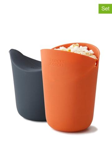 JosephJoseph 2-delige set: magnetron-popcornmakers oranje/grijs - (H)14,5 cm