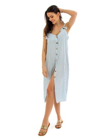"""Fille de Coton Sukienka """"Sandrine"""" w kolorze błękitno-białym"""
