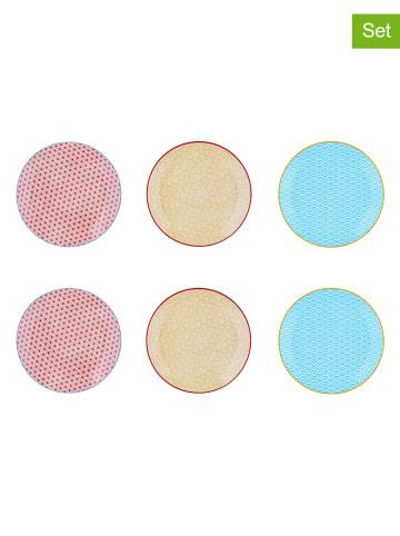 """Björn 6-delige set: dessertborden """"Color"""" rood/geel/lichtblauw - Ø 21 cm"""