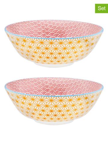"""Björn 2-delige set: saladekommen """"Color Star"""" geel/rood - Ø 21 cm"""