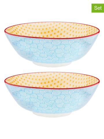 """Björn Salaterki (2 szt.) """"Color Swirl"""" w kolorze żółto-błękitnym - Ø 21 cm"""
