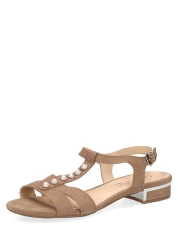 Caprice Skórzane sandały w kolorze jasnobrązowym
