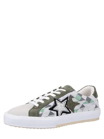 MUSTANG SHOES Leren sneakers olijfgroen/wit