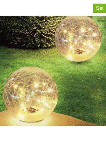 """Lumisky 2er-Set: LED-Solarleuchten """"Crack Ball"""" in Transparent - Ø 13 cm"""