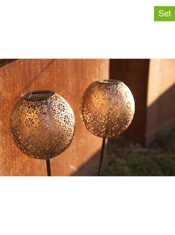 """Lumisky 2er Set: LED-Solar-Gartenstecker """"Agadir"""" in Braun - (H)30 cm"""
