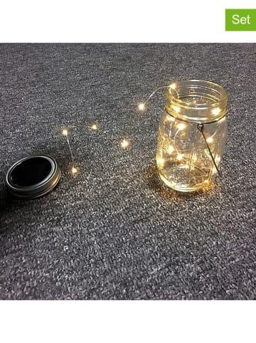 """Lumisky 3er-Set: LED-Solarleuchten """"Jamy"""" in Transparent/ Silber - (H)28 cm"""