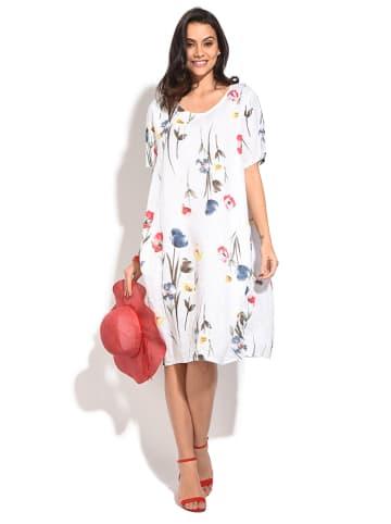 Le Jardin du Lin Lniana sukienka w kolorze białym
