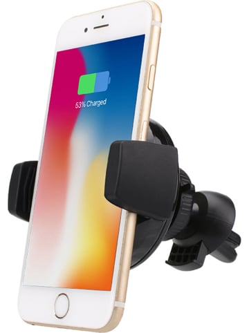SmartCase 2-in-1 autoventilatierooster-smartphonehouder en inductielaadstationplaat zwart