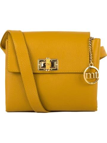 """Mia Tomazzi Skórzana torebka """"Binasco"""" w kolorze żółtym - 20 x 15 x 8 cm"""