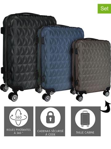 Garden Spirit 3-delige set: hardcase-trolleys zwart/grijs/blauw