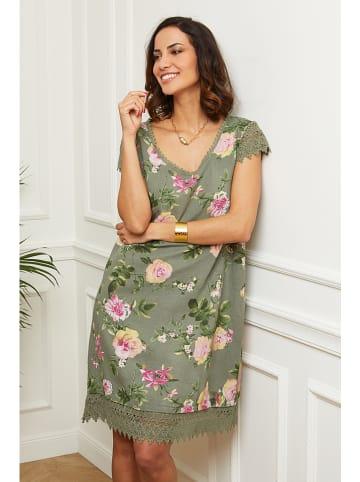 Naturelle en lin Lniana sukienka w kolorze khaki