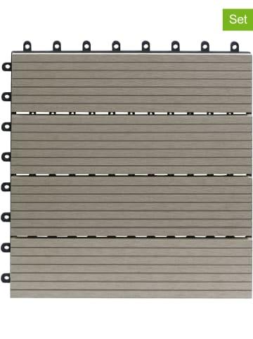 Gartenfreude 10-delige set: terrastegels grijs - (B)30 x (L)30 cm