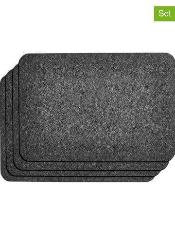 AMARE Podkładki filcowe (4 szt.) w kolorze antracytowym - 45 x 30 cm