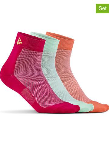 """Craft 3-delige set: functionele sokken """"Greatness Mid"""" rood/groen/oranje"""