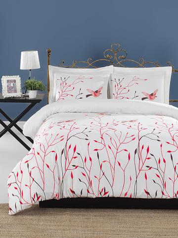 """Colourful Cotton Renforcé beddengoedset """"Fidella"""" wit/roze"""