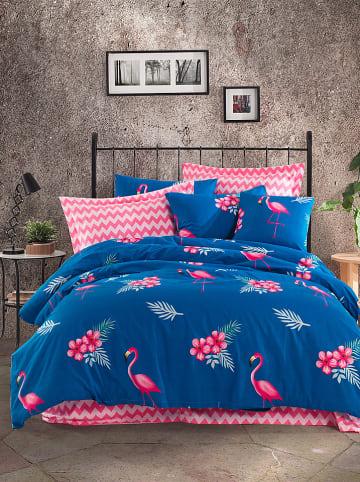 """Colourful Cotton Renforcé beddengoedset """"Flemenco"""" blauw/roze"""