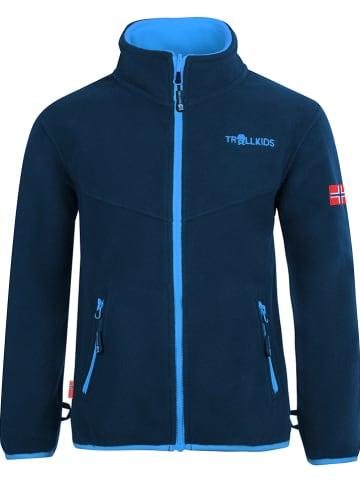 "Trollkids Fleece vest ""Oppdal"" blauw/donkerblauw"
