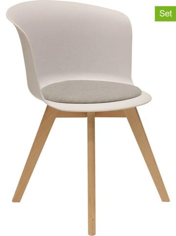 """THE HOME DECO FACTORY Krzesła (2 szt.) """"Enko"""" w kolorze białym - 56 x 75 x 53 cm"""