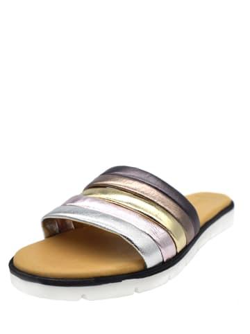 Darkwood Leren slippers zilverkleurig/donkerblauw