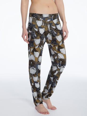 Calida Pyjama-Hose in Grau/ Gold/ Weiß