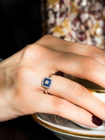 DIAMOND & CO Złoty pierścionek z diamentami i szafirami