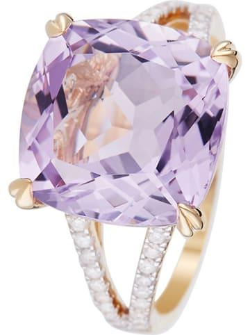 """DIAMOND & CO Gouden ring """"Pink Fiction"""" met diamanten en amethist"""