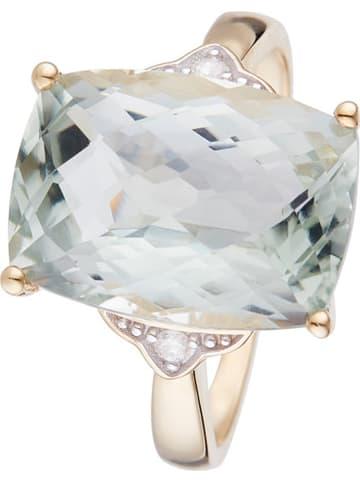 """DIAMOND & CO Gouden ring """"Green Hill"""" met diamanten en amethist"""