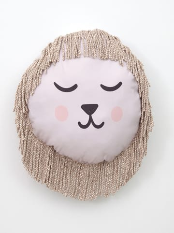 "Little nice things Kissen ""Lion Face"" in Rosa/ Beige - Ø 45 cm"