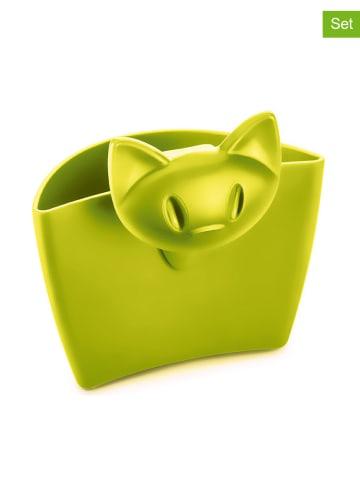 """Koziol 4-delige set: theezakjeshouders """"Miaou"""" groen - (B)7,2 x (H)7,2 cm"""